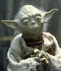 Puppet character Yoda, as depicted in The Empire Strikes Back.