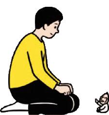 小さいおじさんと語る青年のイメージ・イラスト