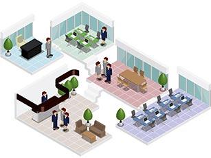 オフィスの俯瞰図