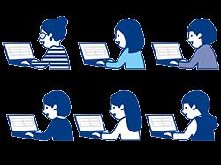 オンライン研修を受ける女性社員のイメージ・イラスト