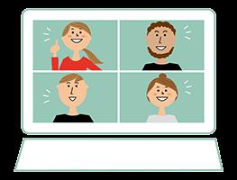 オンライン研修で使うPCのイメージ・イラスト